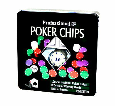 Big Poker Cards Set Texas Hold`em Black Jack Card game with Euro € Chips