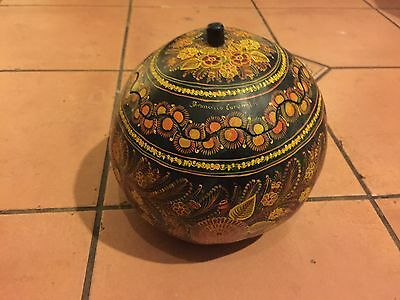FRANCISCO CORONEL Hand-Lacquered and Painted Gourd OLINALA GUERRERO MEXICO