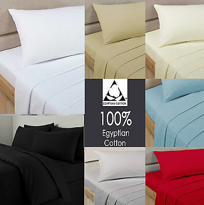 Luxury 100% Egyptian Cotton Fitted Sheets 200 Thread Count All Sizes Extra Deep
