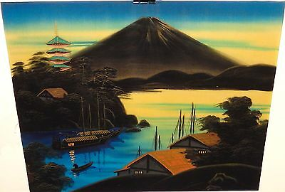 Japanese Acrylic On Silk Fuji Mountain Temple Painting Signed