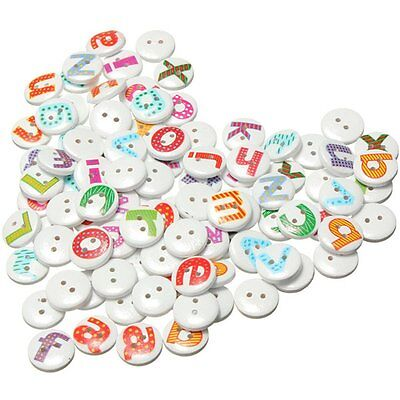 100Pcs Mixed Painted Letter Alphabet Wooden Sewing Button Scrapbooking CY