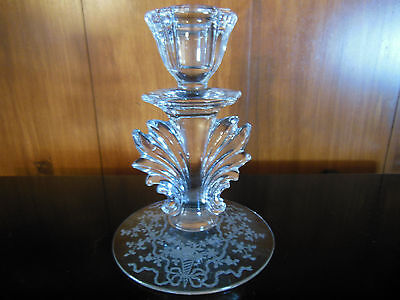 Vintage Fostoria Corsage Clear Glass Etched Candlestick Candle Holder