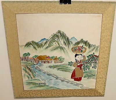 Japanese Girl With Fruit Basket Old Embroidery Tapestry Painting
