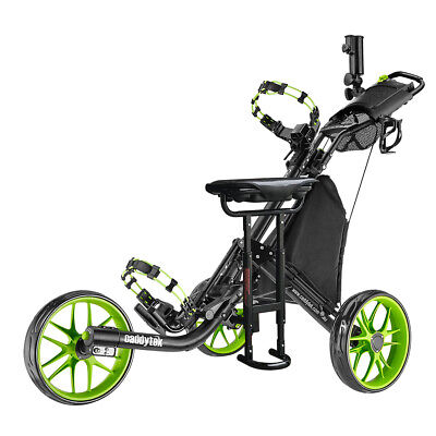 CaddyTek CaddyLite EZ-Fold 3 Wheel Golf Buggy / Push Cart Lime + Removable Seat