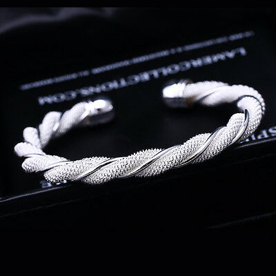 Twisted UK 925 Silver Bangle Bracelet Charm Ladies Womens Girl Jewellery Gifts
