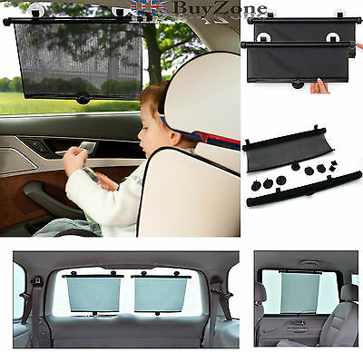 Set of 2 Car Window Sun Shade Roller Blind Screen Protector Children Protection