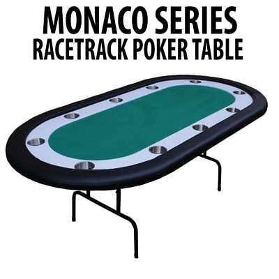 Monaco Series Green Folding Poker Table with White Racetrack