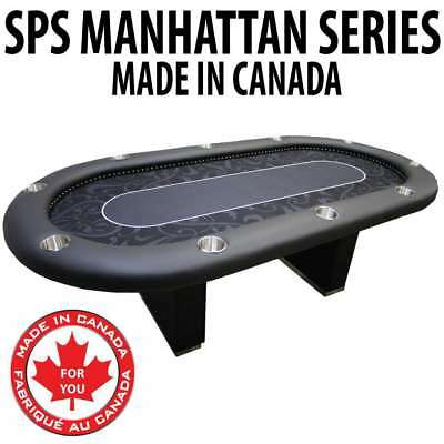 Manhattan Themed Felt Texas Holdem Card Poker Table Full Rail