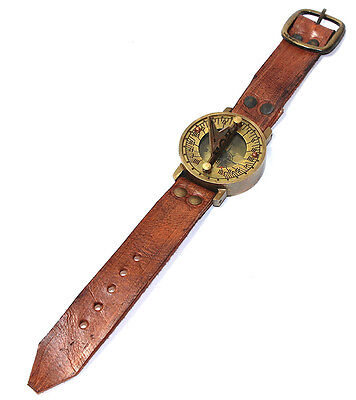Steampunk Wrist Solid Brass Compass and Sundial- Genuine Leather Wrist watch