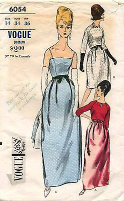 1960's VTG VOGUE SPECIAL DESIGN Evening Dress&Bolero Pattern 6054 14