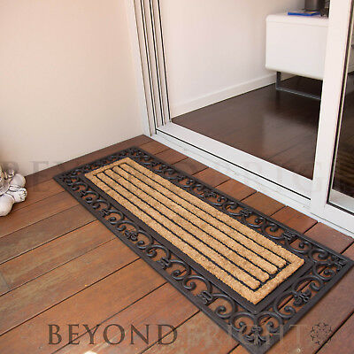 DoorMat 45x120cm SCROLL Long Coir Heavy Duty French Door Mat Rubber Outdoor Rugs