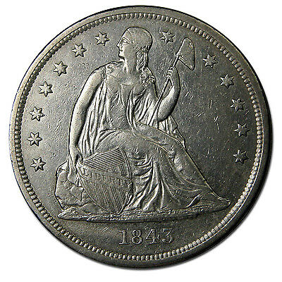 1843 Seated Silver Liberty Dollar $1 Coin Lot# MZ 1522