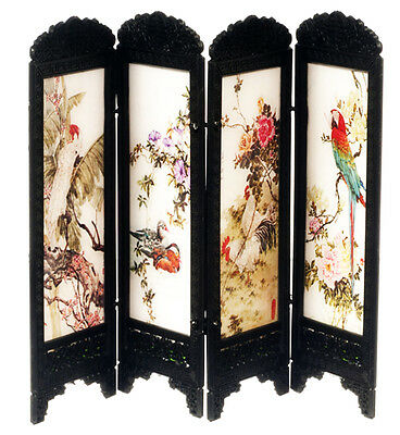 Dollhouse Miniature - Privacy Screen Room Divider of Chinese Birds