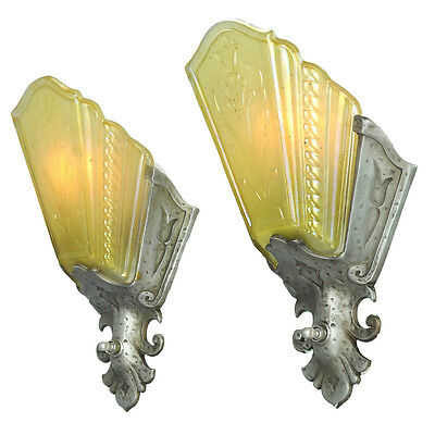 Art Deco Pair of Amber Pewter Color Slip Shade Wall Sconces by Virden (ANT-538)