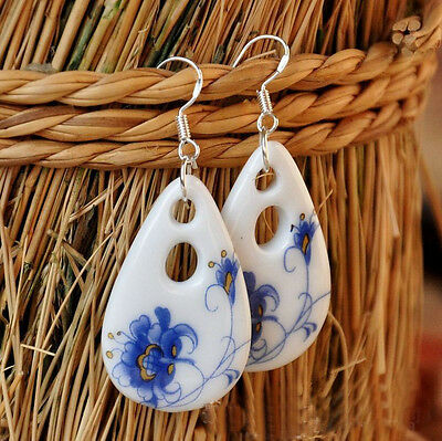 Chinese Style Ceramics Blue and White Porcelain Oval Earring for Women