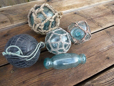 Vtg Japanese 4 Round Glass Fishing Floats & Rolling Pin Variety Pack