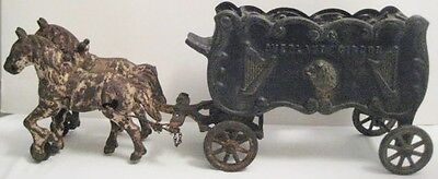 Old Antique Cast Iron Kenton Overland Circus Wagon w/ 2 Horses - Lion & Harps
