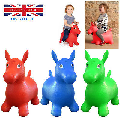Kids Animal Space Hopper Inflatable Horse Ride On Bouncy Play Toys Happy Soft Uk