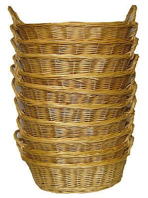 10 x Oval Wicker Gift Basket Packing Tray Storage with Handles - NATURAL
