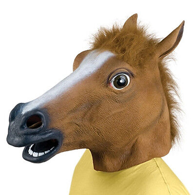 Horse Head Mask Latex Animal Costume Prop Gangnam Toys Party Halloween FE