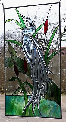 Leaded Glass, Window Screen, Facets - Herons, In Tiffany Technique