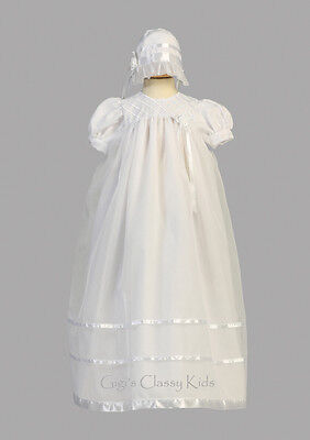 New Baby Girls White Organza 2PC Dress Long Gown Christening Baptism Bonnet 2210