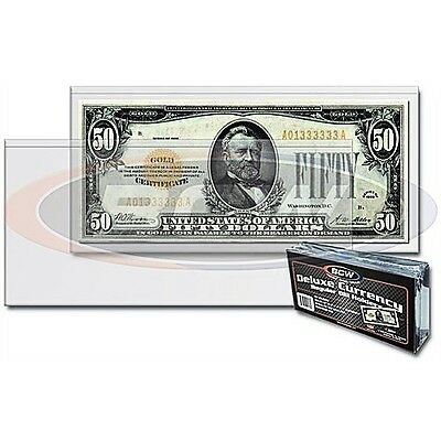 (6)- Regular  Bcw Deluxe Currency Sleeve Bill  Holders Paper Money Semi Rigid