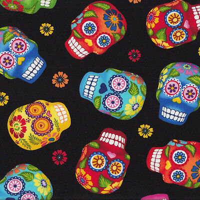Colourful Sugar Skulls on Black Red Blue Yellow Quilt Fabric FQ or Metre *New*