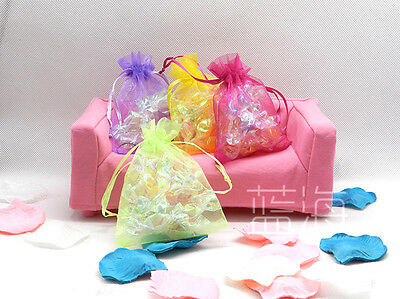 100Xluxury Sheer Organza Wedding Candy Christmas Gift Bags Jewellry Pouches
