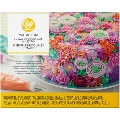 Wilton Master DECORATING TIP Set with 55 Tips Couplers Flower Nails Plastic Tray