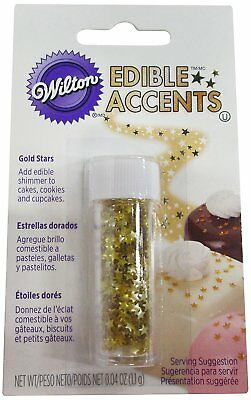 Wilton Edible Glitter In Gold Stars Cake Cookie Cupcake Decoration Sprinkles New