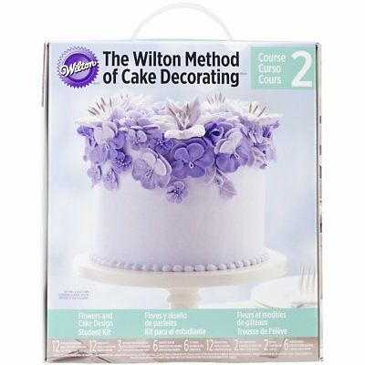"Wilton Course 2 METHOD OF CAKE DECORATING Flower Kit 61 Pieces 12"" Disposable"