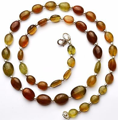 "Natural Gem Grossular Garnet Smooth 7x9 to 9x11MM Oval Nugget Necklace 20"" 170Ct"