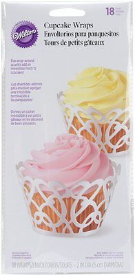 Wilton 18-Pack White Pearl Swirl Paper Cupcake Muffin Cake Wraps Cases Bakeware