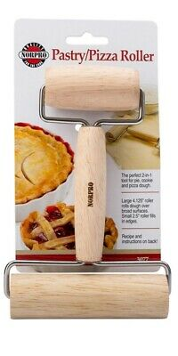 Norpro Wood Pastry Pie And Pizza Roller 2 In 1 Nutcracker Stainless Steel Rods