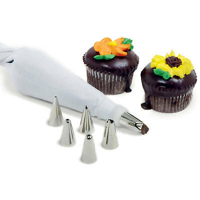 Norpro 8 Piece Cake Decorating Set Frosting Icing Piping Bag Tips Reusable