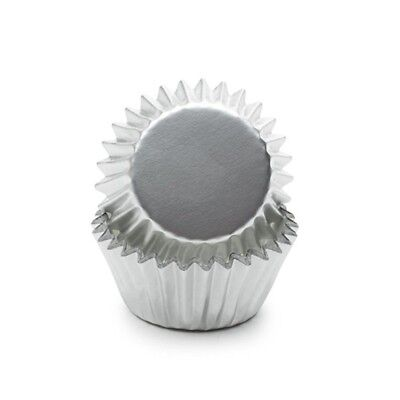 Fox Run 48 Silver Foil Mini Muffin Cups Cupcake Liners Birthday Holiday New 4958
