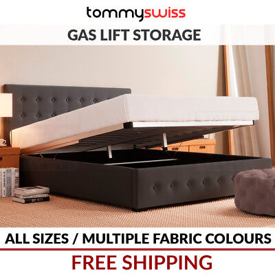 TOMMY SWISS: King, Queen & Double Gas Lift Storage Fabric Button Bed Frame Grey