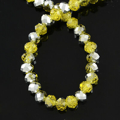 72 x Yellow Faceted Crystal Glass Beads Jewellery Craft - 8mm - LB1457