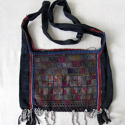 Antique Original Embroidered Akha Hilltribe Crosstich Bag Burma Thailand