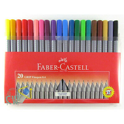 Faber Castell Grip Fine Colour Marker Pens. 20 Pen Wallet Set. Artists Sketching