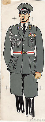* WWII ORIGINAL MILITARY SKETCH - Army Uniforms - German Soldier, Air Force Off.