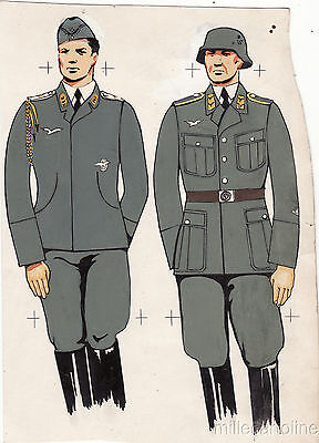 * WWII ORIGINAL MILITARY SKETCH - Army Uniforms - German Soldiers,Officer Airman