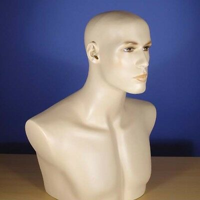 "Brand New 20"" Flesh Tone Head & Chest Male Mannequin 201N"