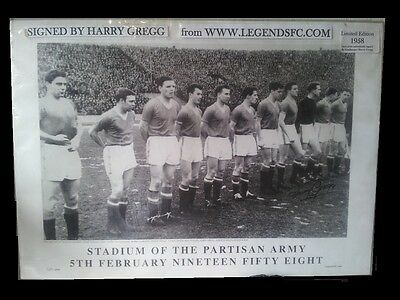 HAND SIGNED HARRY GREGG LTD EDITION.BUSBY BABES MAN UNITED. No.1651 OF ONLY 1958