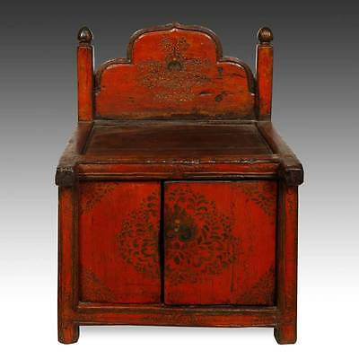 Rare Antique Buddha Stand Altar Painted Pine Tibet Chinese Furniture 19Th C.