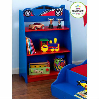 Racecar Bookcase Kids Children Bedroom Furniture Book Shelves Storage Fun Bright