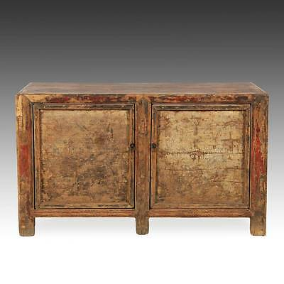 Rare Antique Chinese Qing Gansu Cabinet Painted Pine Furniture China 18Th C.