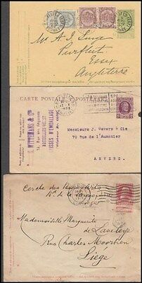 BELGIUM EARLY POSTAL STATIONERY ITEMS (x3) (ID:331/D37853)