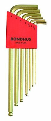 Bondhus 38092 Ball End Tip Hex Key L-Wrench Set with GoldGuard Finish, 7 Piece